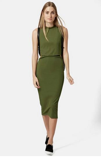 topshop green midi dress