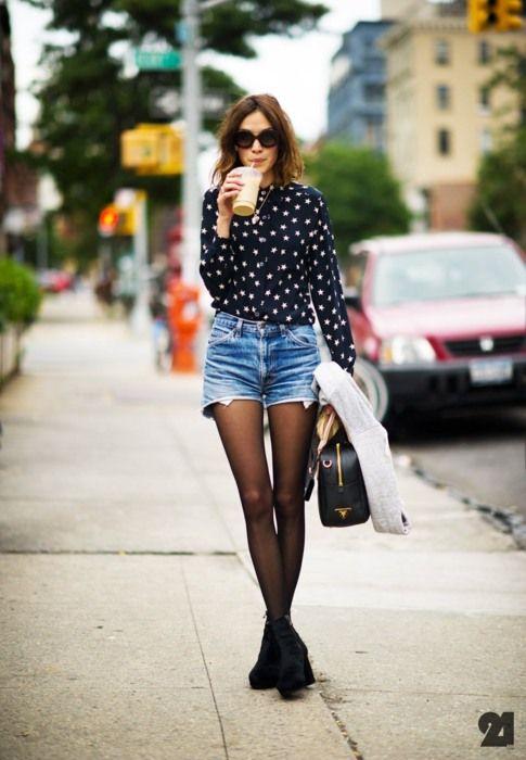 alexa chung shorts and tights