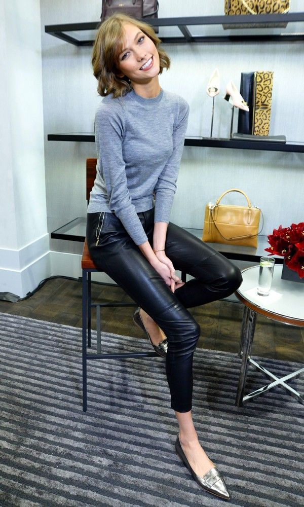 karlie kloss style leather pants